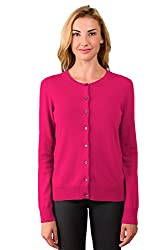 Jennie Liu Women S 100 Cashmere Button Front Long Sleeve Crewneck Cardigan Sweater S Hotpink