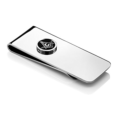 Gem Stone King 2.5 Inch Stainless Steel Masonic Freemason Square & Compass Men's Money Clip