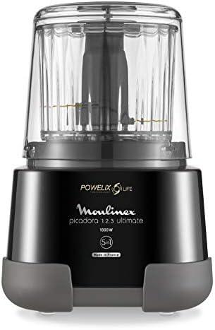 Moulinex DP810855 - Picadora eléctrica 1000 W, 2 cuchillas powerlife, capacidad de hasta 350 g/550 ml, tapa hermética, sistema de protección contra el sobrecalentamiento, compacto, negro: Amazon.es: Hogar