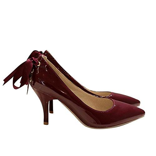 Cher Temps Femmes Bout Pointu Haut Talon Glisser Sur Pompes Stiletto Noce Chaussures De Base Vin Rouge