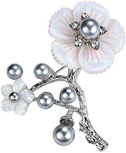 SZKP 女性のブローチ、女性パールフラッシュダイヤモンド象眼細工のシェル梅のコサージュピンクの花クラシックスカーフバックル服ピン4.8 * 5.2CM (Color : Silver)