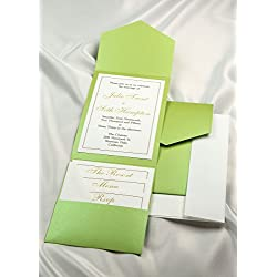 All-in-One Pocket Invitation Kit - Lime Green Elegance - Pack of 20