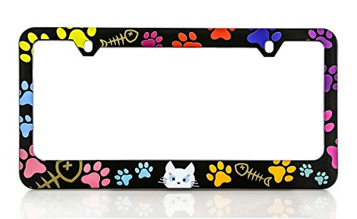 - Baron-Jewelry Purrr-FECT Adorable 'cat Lovers' Colorful License Frame Unique Design. Standard US & Canada Size.