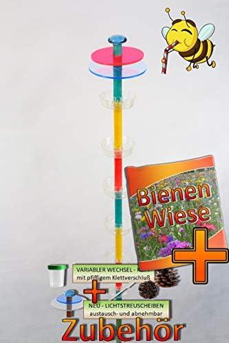 BTV Insekten-6x-Tränkstab Tränke türkis-gelb-rot-R XXL 100 cm Bienentränke, LICHTFALLE/Scheibe-BLAU-ROT Bienenfutterstation für Wildbienen, Hummeln Schmetterlinge schwarz anthr