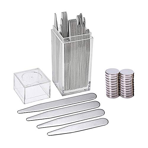 40pcs Assorted Size Stainless Steel Metal Collar Stays + 20pcs Magnets + Clear Plastic Box for Mens Dress Shirt