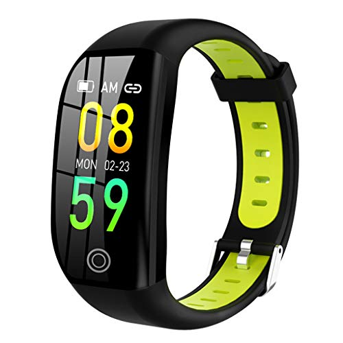 Fine Smart Watch,Outdoor Sports Smart Bracelet Color Screen Waterproof Sports Watch with Heart Rate Monitor Sleep Monitoring Activity Tracker Pedometer Black Sports Bracelet for Android/iOS (Green)