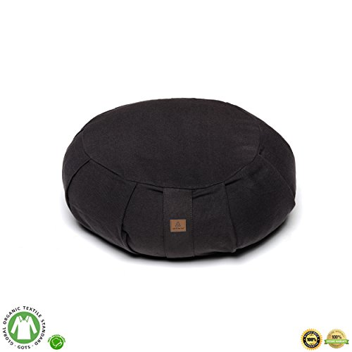 Buckwheat Zafu Therapeutic Meditation Cushion | Yoga Pillow | Round Ergonomic Design Relieves Stress On Back, Hips, Legs For Complete Comfort | Washable Premium Organic Cotton Removable Cover - Black