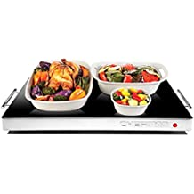 """Chefman Electric Warming Tray / Trivet with Adjustable Temperature Control, Perfect For Buffets, Restaurants and Home Dinners, Glass Top Large 21"""" x 16"""" Surface to Keep the Food Hot - Black"""