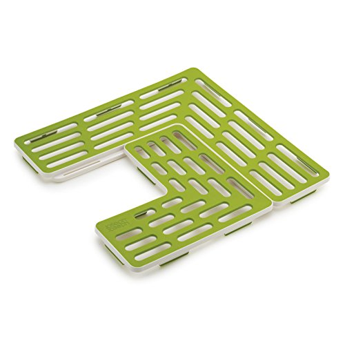 Joseph Joseph 85036 SinkSaver Adjustable Sink Protector Mat Two Grid Sections Fits Different Drain Positions Non-Slip, Green
