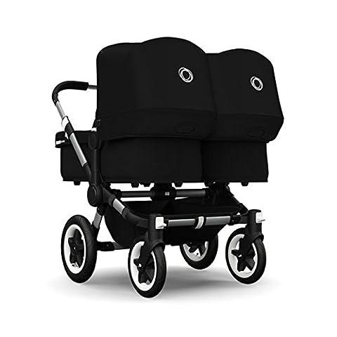 Bugaboo Donkey Twin Stroller Bundle, Aluminum Base with Black Tailored Fabric Set (Donkey Twin)