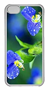 LJF phone case iPhone 5C Case, Personalized Custom Tiny Flowers Macro for iPhone 5C PC Clear Case