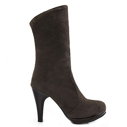 COOLCEPT Damen Casual Hohe Ferse Plateau Ohne Verschluss Stiefeletten Two Wear Brown
