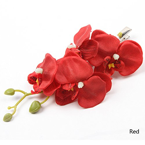 Leoie Women Butterfly Orchid Imitation Flowers Hair Clips Wedding Bridal Headdress red ()