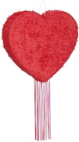 Unique 65998 party accessories Red Heart Pinata, Pull String, 20