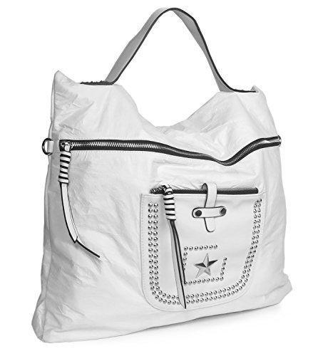 Handtasche Hobo Bag Beuteltasche Stern Nieten Papierleder Weiß fzmw7of2TS