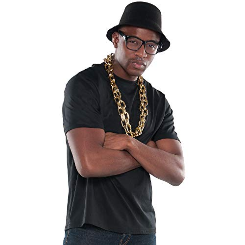 Suit Yourself Old School Rapper Accessory Kit for Adults, Includes a Black Hat, Black Glasses, and Thick Chain -