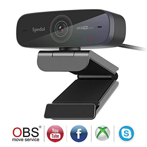 🥇 Spedal Webcam 1080P 60fps HD Streaming Cámara Web Autofocus Cámara Web USB con Micrófonos Cámara Web Portátil o Computadora Cámara Xbox OBS Skype Facebook Mac Compatible con Windows
