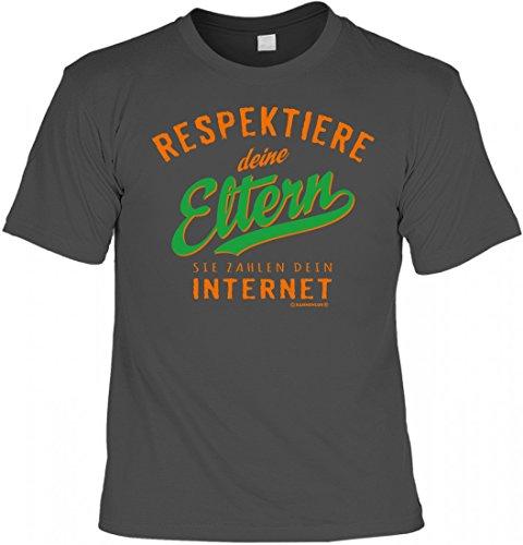 T-Shirt - Respektiere deine Eltern - Sie zahlen dein Internet grau - lustiges Sprüche Shirt als Geschenk für Kinder mit Humor