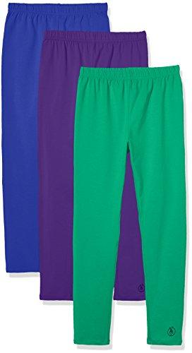 Kid Nation Girls' 3 Pack Solid Cotton Stretch Capri Leggings XL Green+Blue+Purpple
