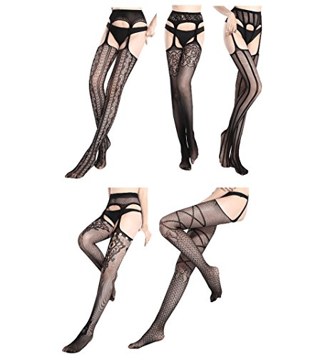 7bb1e5410 FULLRON 5 Pairs Garter Belt Pantyhose Fishnet Tights  Thigh High Stockings