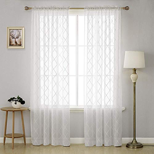 Deconovo Trellis Embroidered Curtains Faux Linen Curtains Rod Pocket Sheer Curtains for Living Room 52 x 95 Inch White 2 Panels (Whte Curtain Rod)
