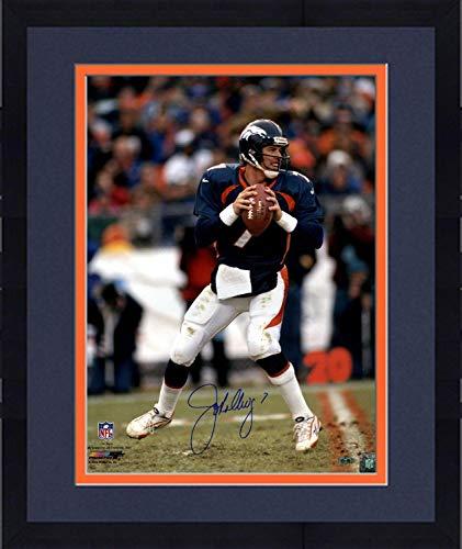 (Framed John Elway Signed vertical in pocket new uniform 16x20 Photo - Steiner Sports Certified - Autographed NFL Photos)