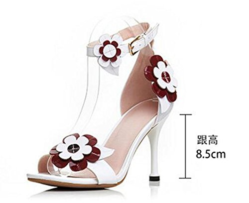 PBXP OL Sandalen Knöchelriemen Peep Toe Stiletto High Heel Blumendekoration Breathable Anti-Rutsch Outsoles Elegante Casual Schuhe EU Größe 34-39 , white , 36