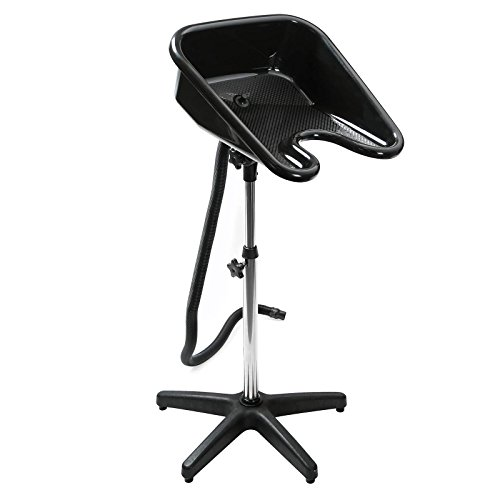 (Saloniture Portable Salon Basin Shampoo Sink with Drain - Black - Adjustable Height)