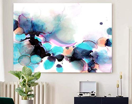 Abstract Blue Orchid Fine Art Print Unique Beautiful Floral Interior Design Living Room Bedroom ideas
