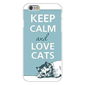 Apple iphone 5 5s Custom Case White Plastic Snap On - Keep Calm and Love Cats Laying Down Blue