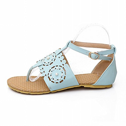 Carol Chaussures Chic Femmes Boucle Confort Perlé Creux Décontracté Tong Tongs Sandales Bleu