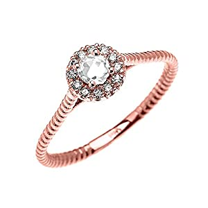 10k Rose Gold Dainty Halo Diamond and Solitaire White Topaz Rope Design Promise Ring