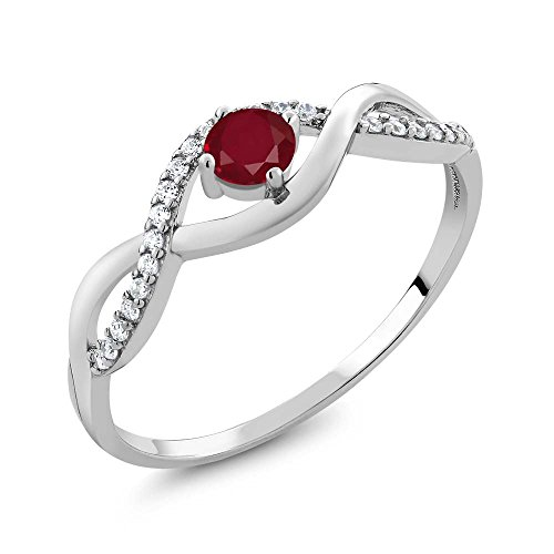 Gem Stone King Red Ruby 925 Sterling Silver Women's Infinity Ring 0.61 Ct Round Gemstone Birthstone (Size 6) ()
