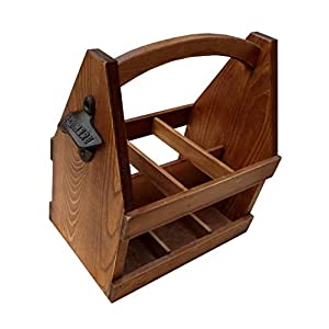 Wooden Beer Caddy – Handcrafted Bottle Carrier with Opener Holds a 6 Pack – Made of Pine with a Clear Varnish