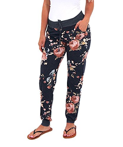 Coutgo Women's Casual Comfy Soft Stretch Floral Print Jogger Lounge Pants (S, Black)