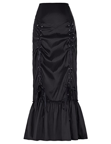 [Women's Steampunk Skirt Victorian Gothic Outfits Black Size L] (Black Halloween Skirt)