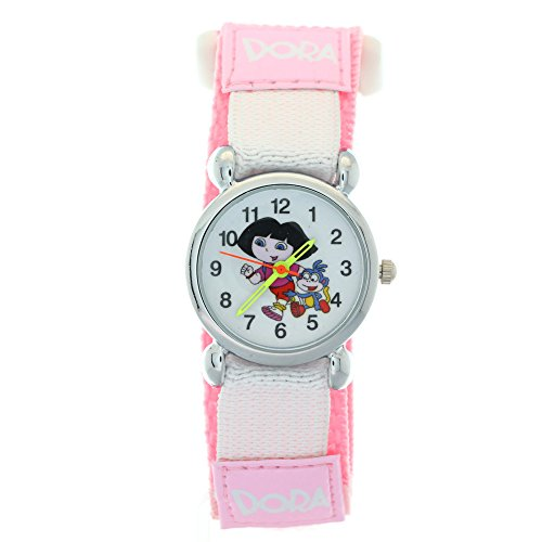 Dora Watches Children Girls Boys Pink Nylon Magic Tape Quartz Analogue Display Cute Cartoon Wristwatch