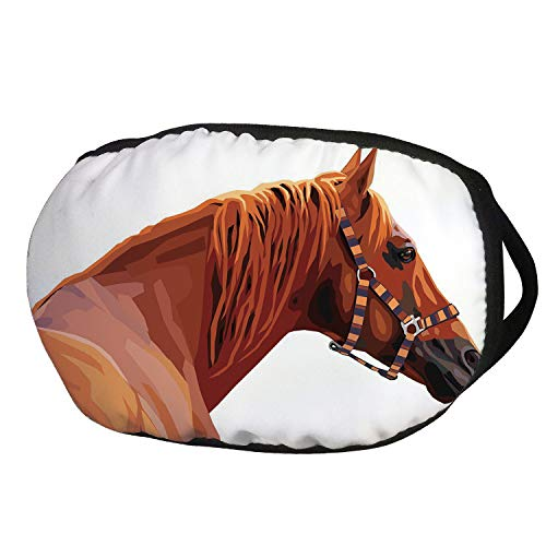 Iron Horse Ride - Fashion Cotton Antidust Face Mouth Mask,Animal,Race Jokey Horse Pure Noble Animal Ride Hobby Nature Vehicle Artwork Paint,White and Cinnamon,for women & men