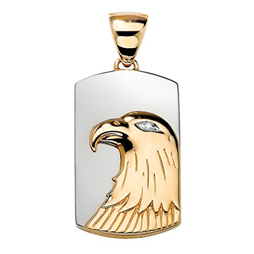 Men's 14K Yellow Gold over Sterling Silver Diamond Accent Two-Tone Eagle Charm Pendant