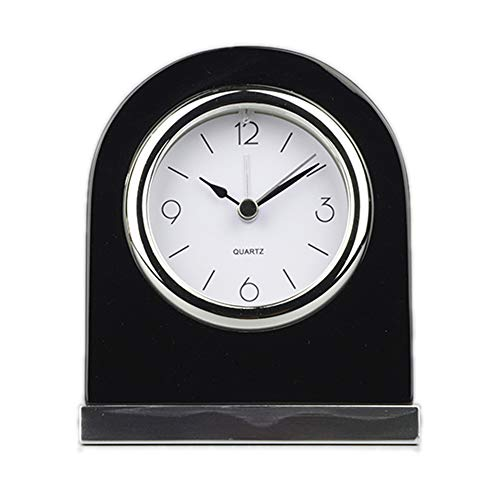 Wood Table Clock Classic Desk Alarm Personalized Wood Desk Archway Clock with Silver Base. Classic Retro Style Quartz Clock, Desk Cupboard Bedside Award Retirement Gift Executive Anniversary(Black)