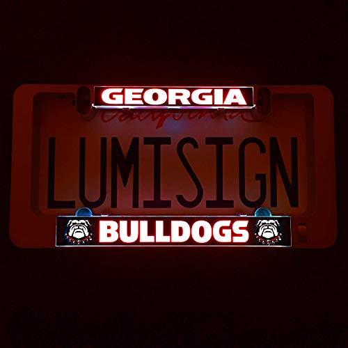LumiSign - The Auto Illuminated License Plate Frame | Lights Up While You Brake | Installs in Seconds | No Wires, Battery Operated | Interchangeable Inserts (Georgia) (Illuminated Bowl)
