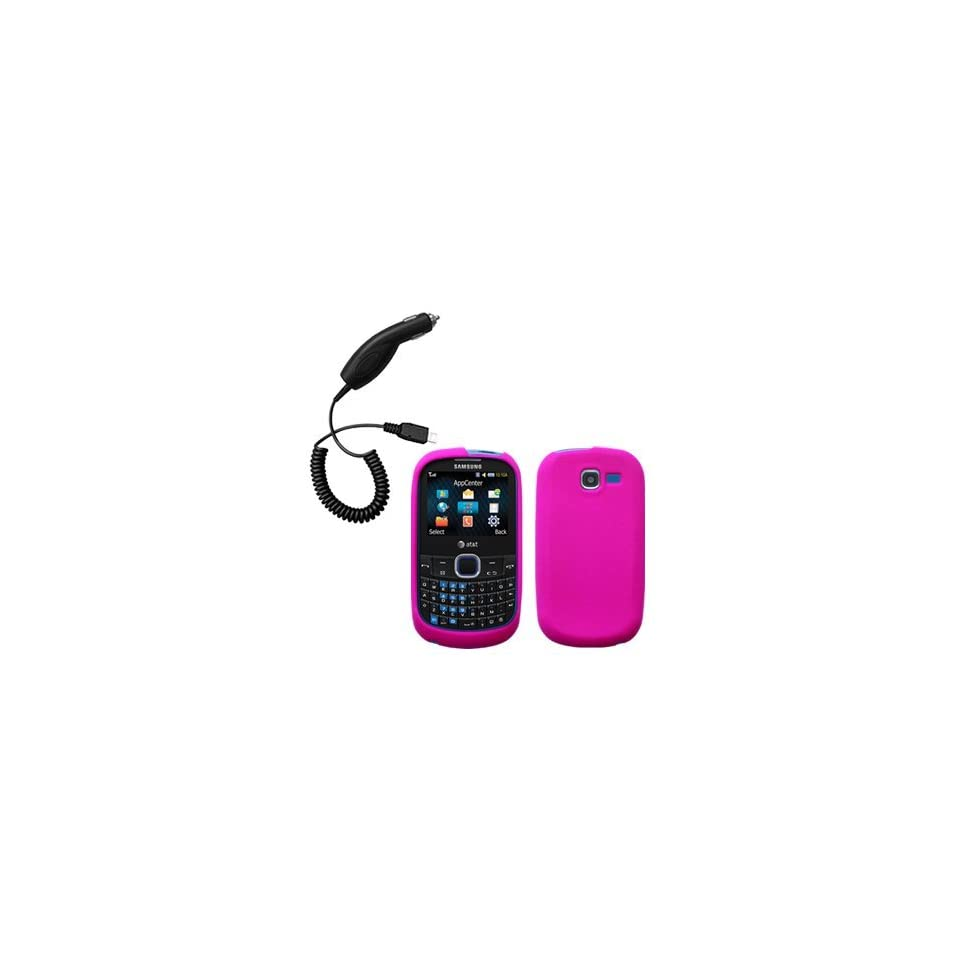 Hot Pink Silicone Skin / Case / Cover & Car Charger for Samsung SGH A187