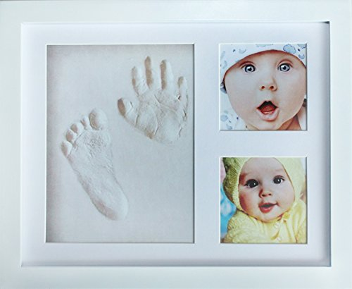 Baby Picture Frame Nursery Decor (My Mini Moe Baby Handprint Kit & Footprint Photo Frame. Shower Registry Gifts For Newborn Girls & Boys Craft Clay Mold Gift Set For Babys Infant & Kids Personalized Nursery Decor Keepsake Box Ideas)