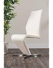 Furniturebox UK 2x Willow Modern Premium Chrome Metal Z Faux Leather Stylish Dining Chairs Set