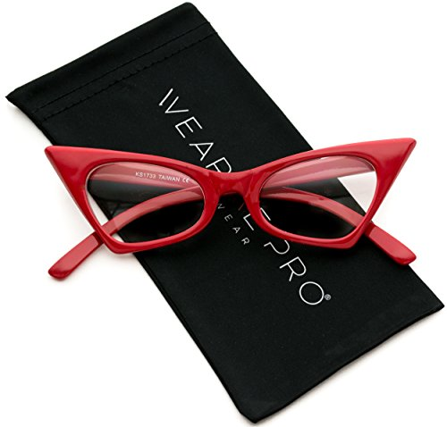 WearMe Pro - Super Retro High Pointed Cat Eye Clear Lens - Retro Glasses Cat Eye