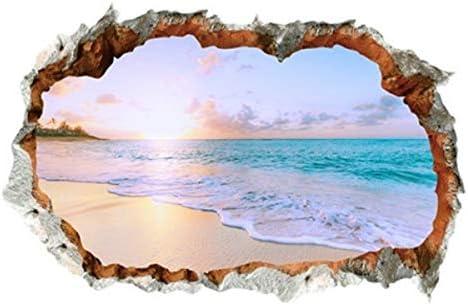 Amazon ウォールステッカー 窓 海 南国 ビーチ 風景 おしゃれ シール お風呂 壁紙 壁の穴 レンガ トリックアート ヤシの木 トイレ かわいい インテリア 壁飾り 写真 夕日 空 大きい 夏 窓の景色 波 砂浜 Diyシール ハワイ ハワイアン サーフ 西海岸 アメリカン