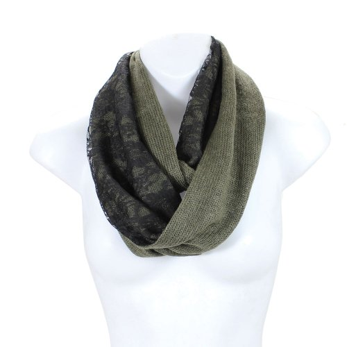 lack Floral Lace Two Sides Infinity Circle Scarf (Olive) ()