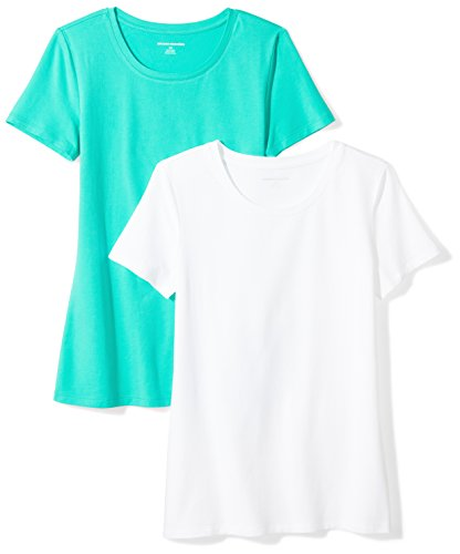 Amazon Essentials Women's 2-Pack Classic-Fit Short-Sleeve Crewneck T-Shirt, Mint Green/White, XX-Large