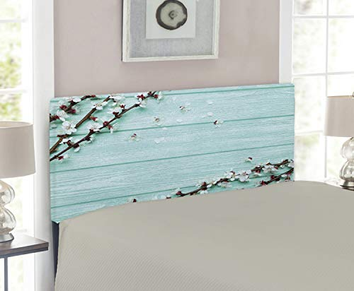 Twin Headboard Cherry Size (Lunarable Mint Headboard for Twin Size Bed, Spring Cherry Blossom Petals Branch on Rustic Wooden Planks Seasonal Picture, Upholstered Metal Headboard for Bedroom Decor, White Brown Seafoam)