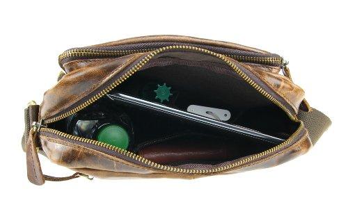 Ital. Vintage Retro Style LEDER Bubalus WasserBüffel Büffelleder Tasche Unisex Messenger Bag Umhängetasche Tablet Ipad mini bis ca. 10 Zoll CrossOver 26x28x4 cm (BxHxT) Braun